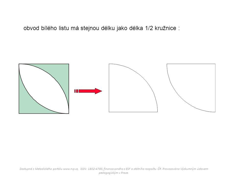 obvod bílého listu má stejnou délku jako délka 1/2 kružnice :