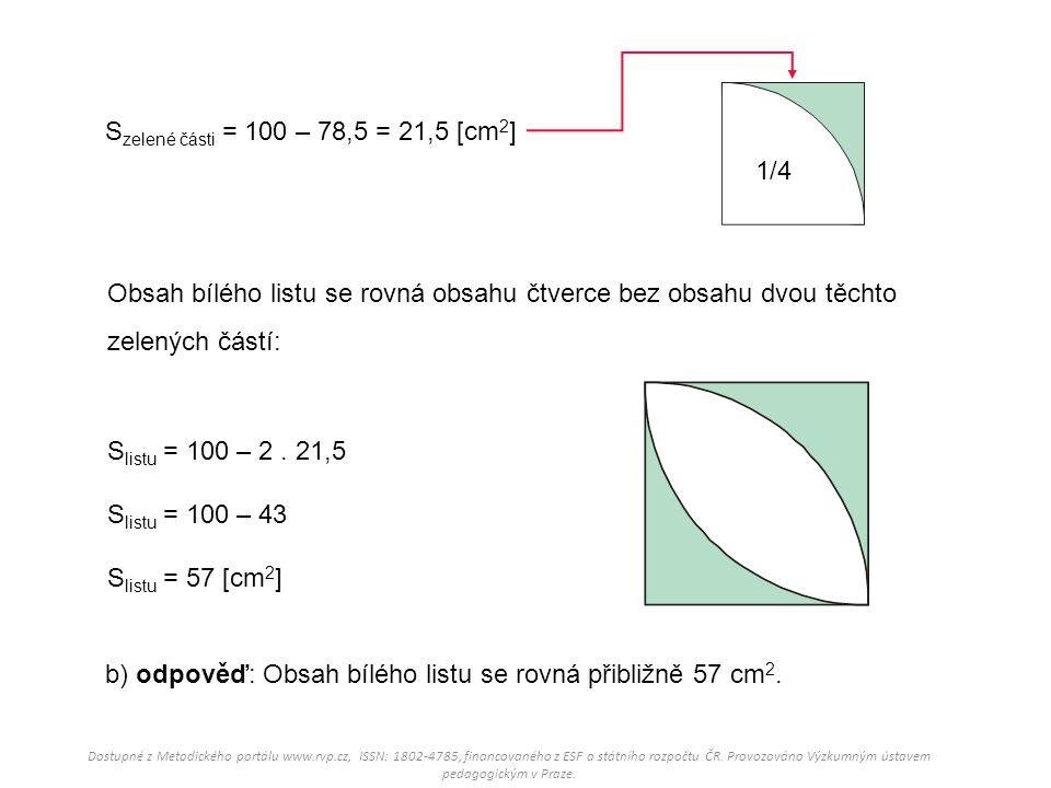 Obsah bílého listu se rovná obsahu čtverce bez obsahu dvou těchto