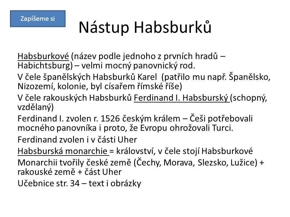 Zapíšeme si Nástup Habsburků. Habsburkové (název podle jednoho z prvních hradů – Habichtsburg) – velmi mocný panovnický rod.