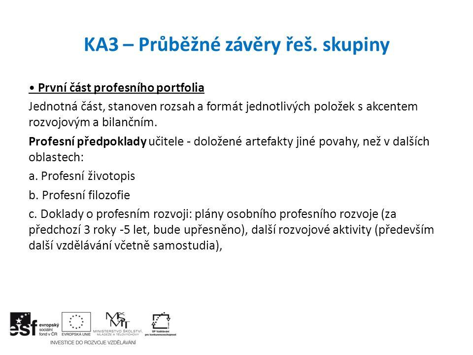 KA3 – Průběžné závěry řeš. skupiny