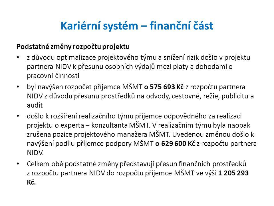 Kariérní systém – finanční část