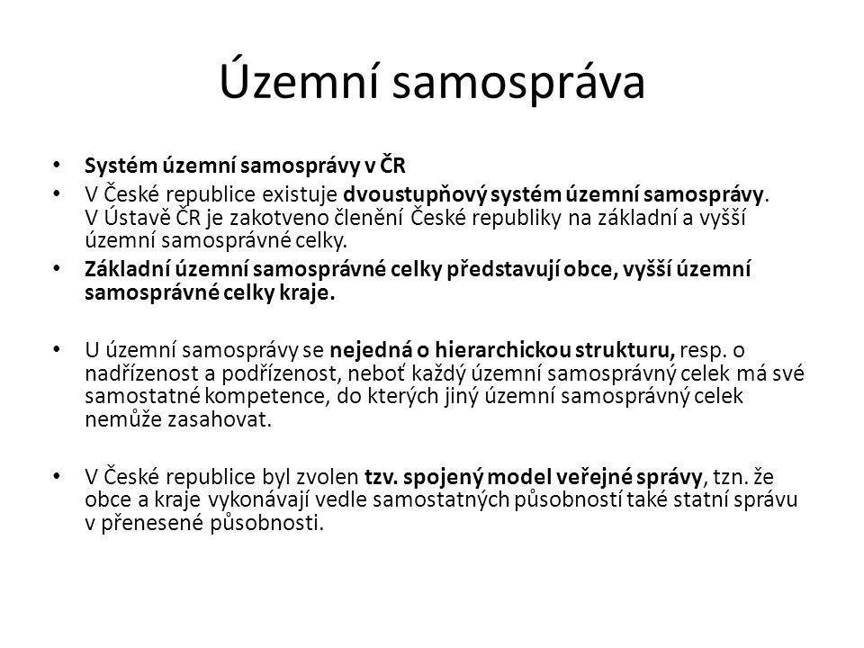 Územní samospráva Systém územní samosprávy v ČR