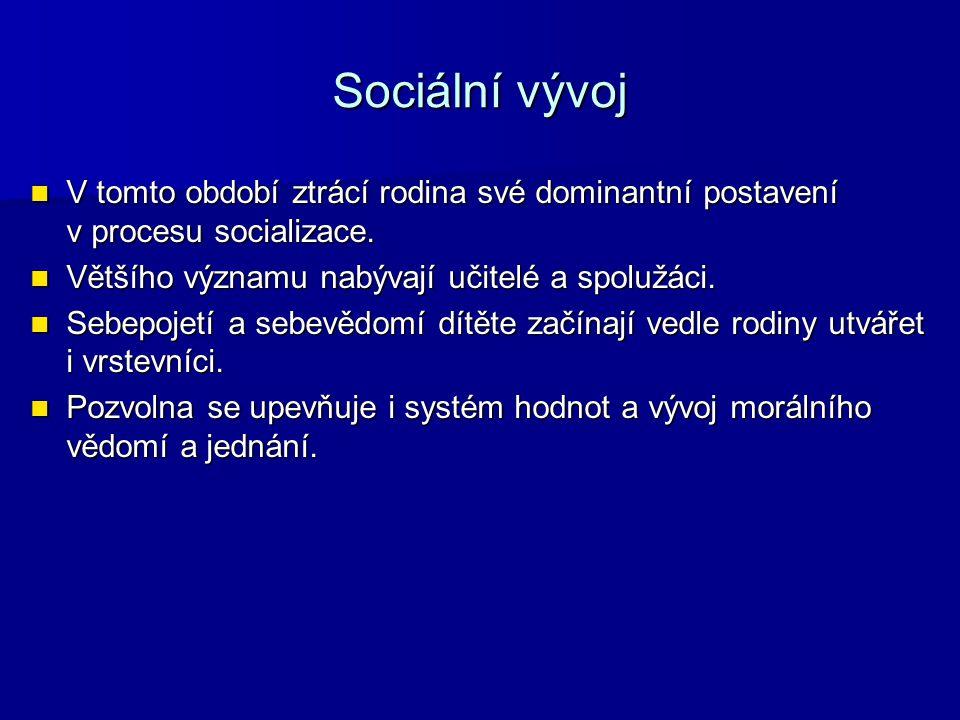 Sociální vývoj V tomto období ztrácí rodina své dominantní postavení v procesu socializace.