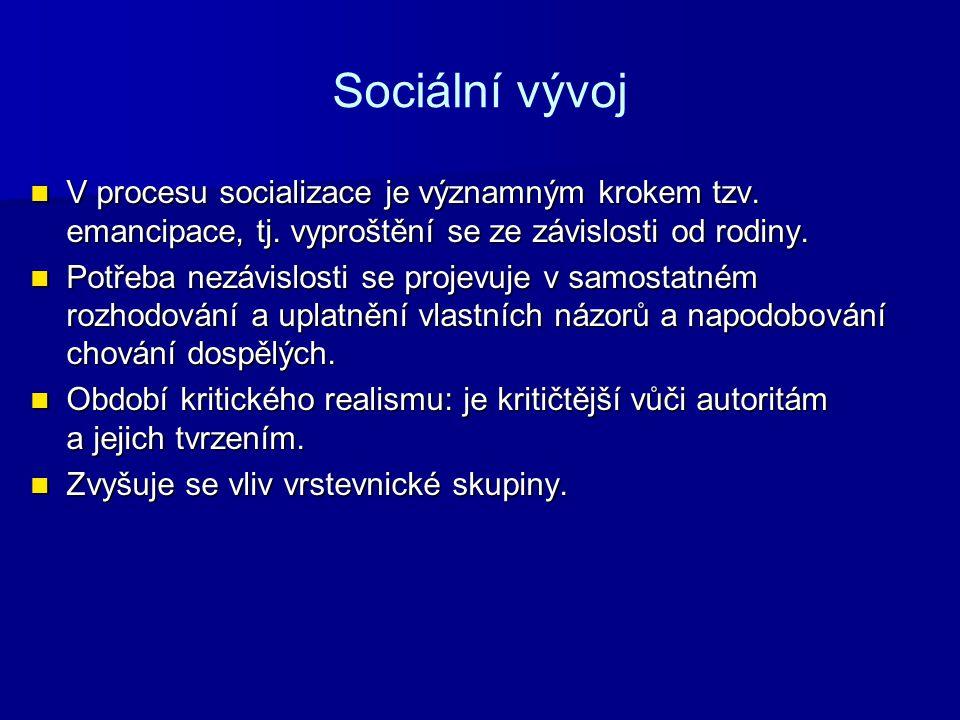 Sociální vývoj V procesu socializace je významným krokem tzv. emancipace, tj. vyproštění se ze závislosti od rodiny.