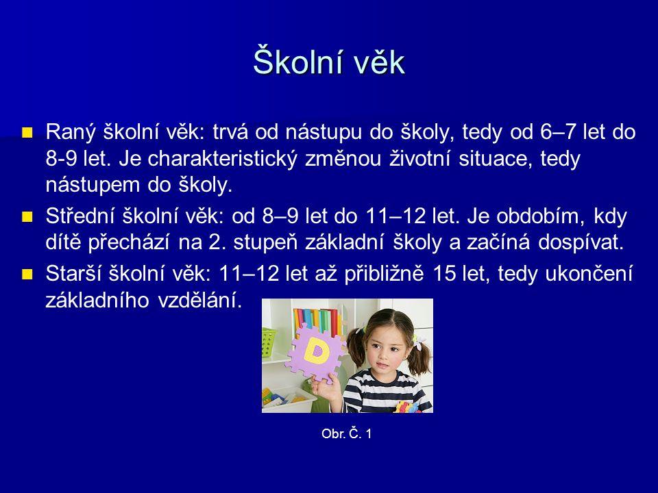 Školní věk Raný školní věk: trvá od nástupu do školy, tedy od 6–7 let do 8-9 let. Je charakteristický změnou životní situace, tedy nástupem do školy.