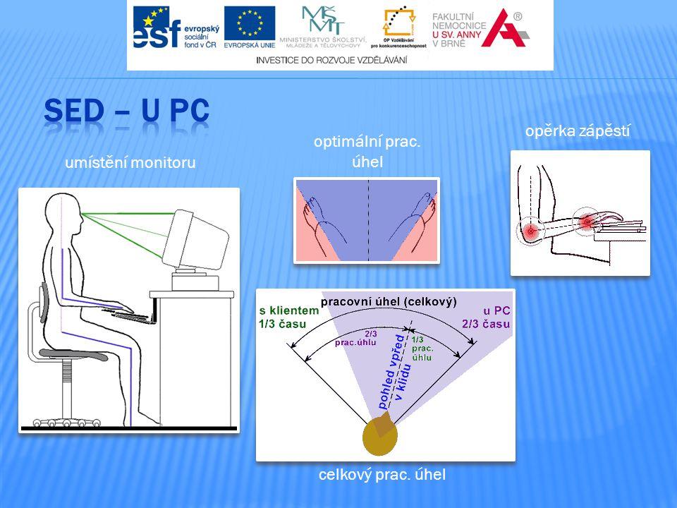 SED – u PC opěrka zápěstí optimální prac. úhel umístění monitoru