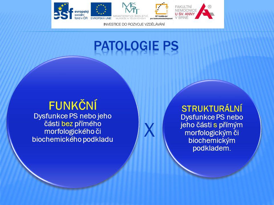 PATOLOGIE PS FUNKČNÍ Dysfunkce PS nebo jeho části bez přímého morfologického či biochemického podkladu.