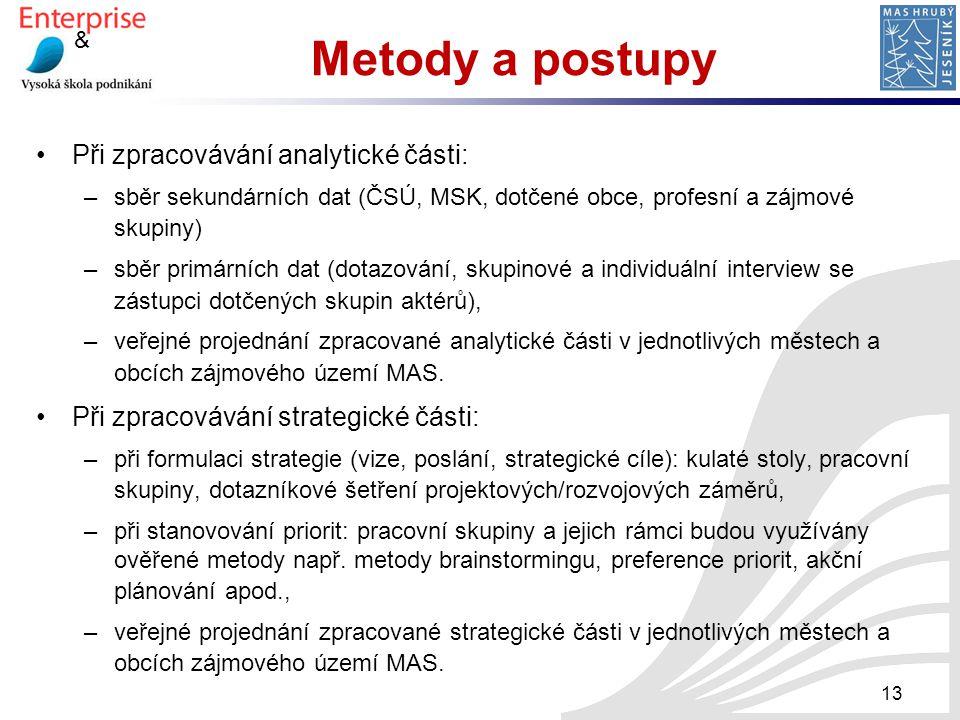 Metody a postupy Při zpracovávání analytické části: