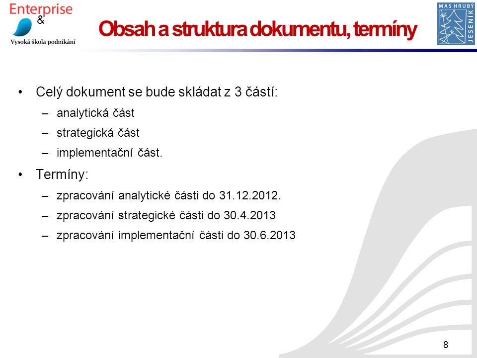 Obsah a struktura dokumentu, termíny