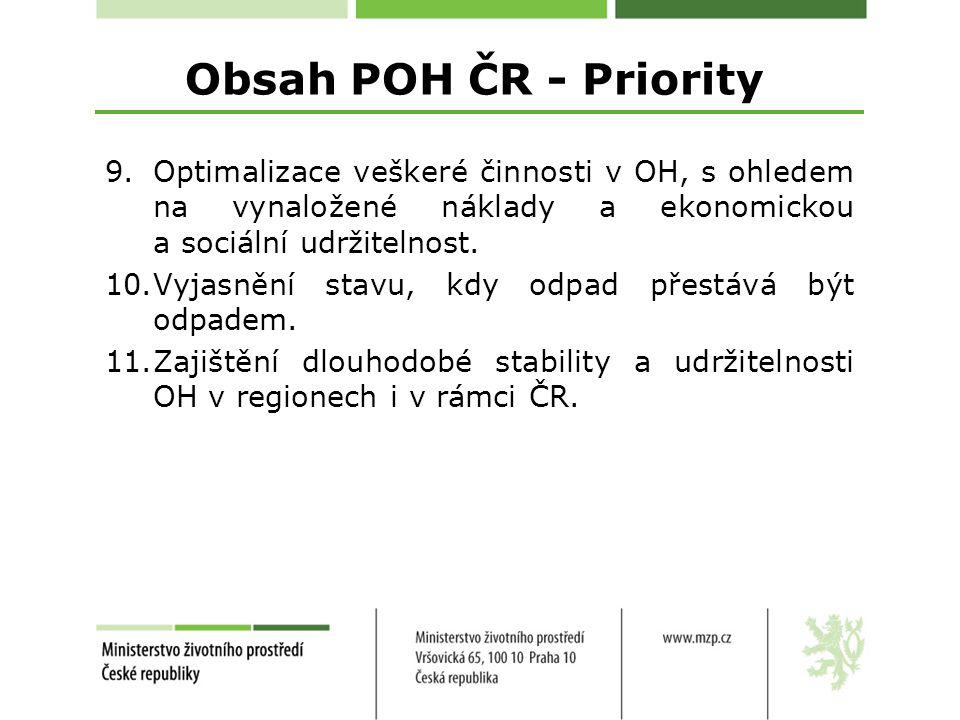 Obsah POH ČR - Priority Optimalizace veškeré činnosti v OH, s ohledem na vynaložené náklady a ekonomickou a sociální udržitelnost.