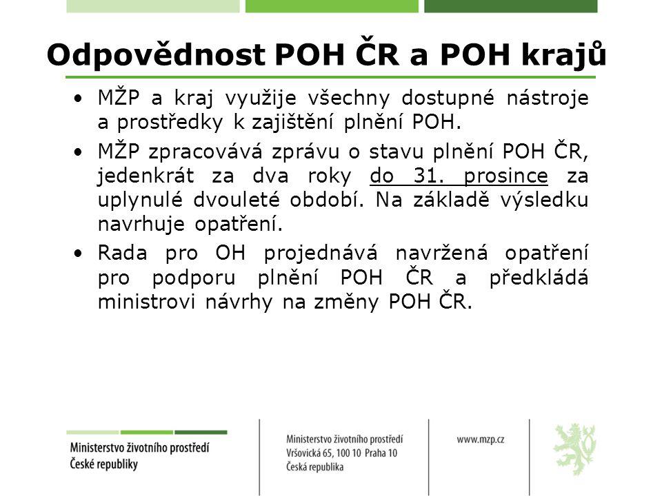 Odpovědnost POH ČR a POH krajů