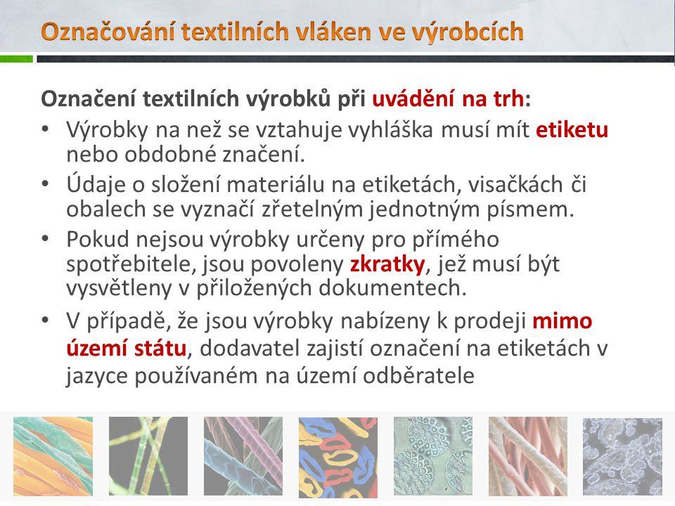 Označování textilních vláken ve výrobcích