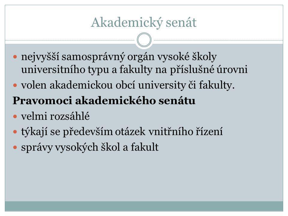 Akademický senát nejvyšší samosprávný orgán vysoké školy universitního typu a fakulty na příslušné úrovni.