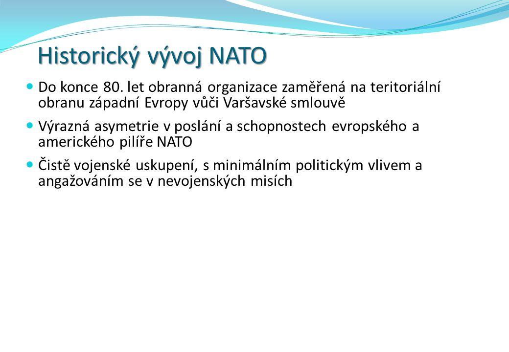 Historický vývoj NATO Do konce 80. let obranná organizace zaměřená na teritoriální obranu západní Evropy vůči Varšavské smlouvě.