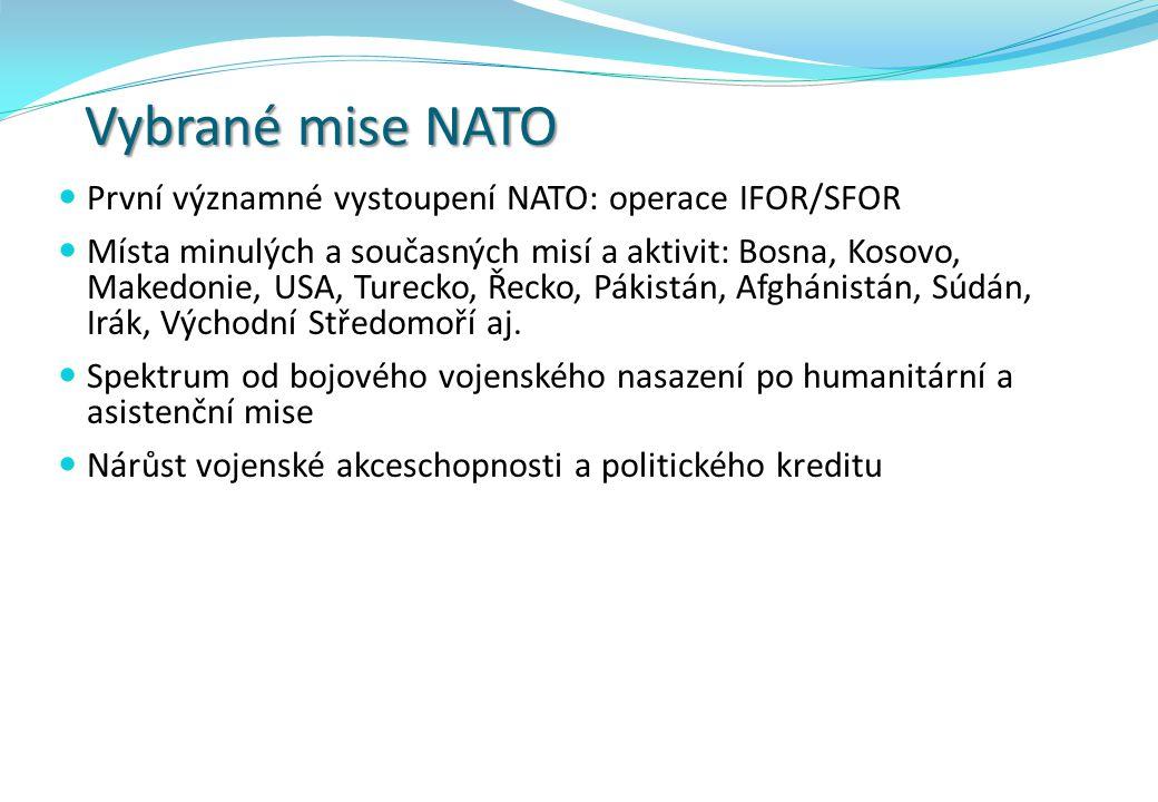Vybrané mise NATO První významné vystoupení NATO: operace IFOR/SFOR
