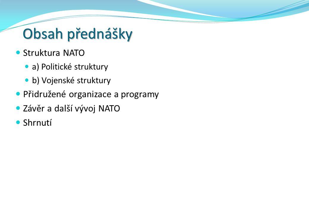 Obsah přednášky Struktura NATO Přidružené organizace a programy