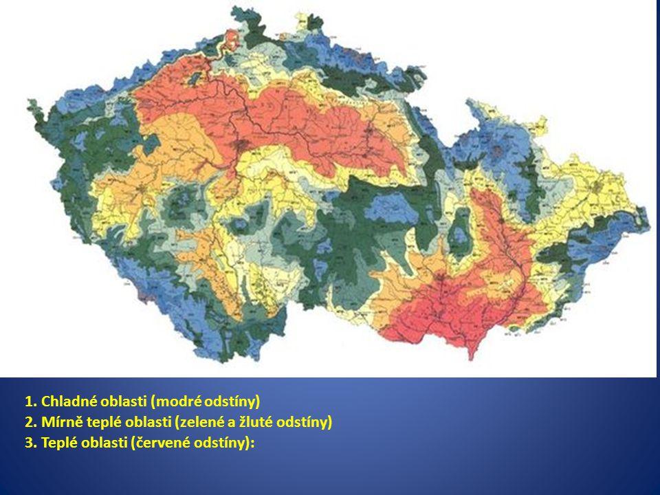 1. Chladné oblasti (modré odstíny)