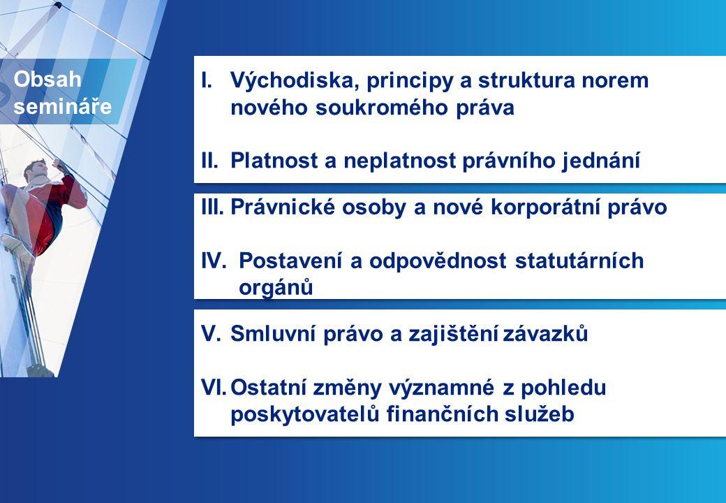 I. Východiska, principy a struktura norem nového soukromého práva