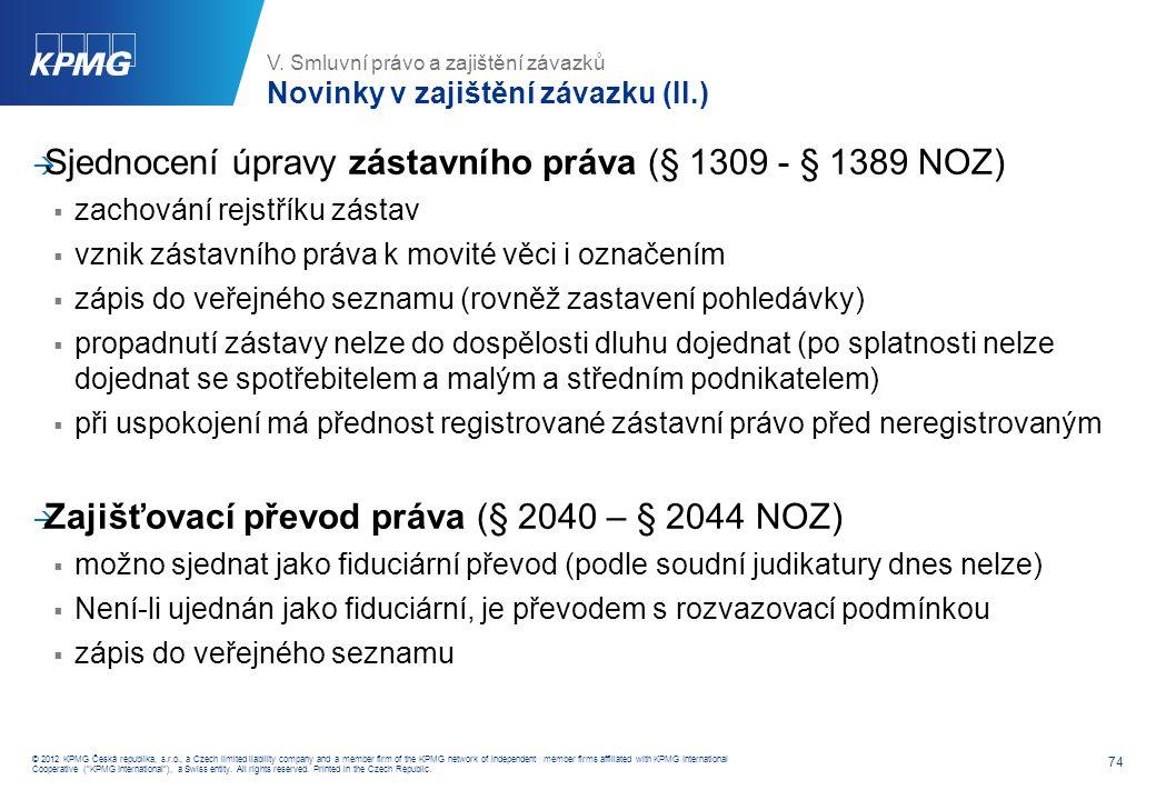 Práva ze zajištění vzniklá před účinností NOZ (§ 3073 NOZ)
