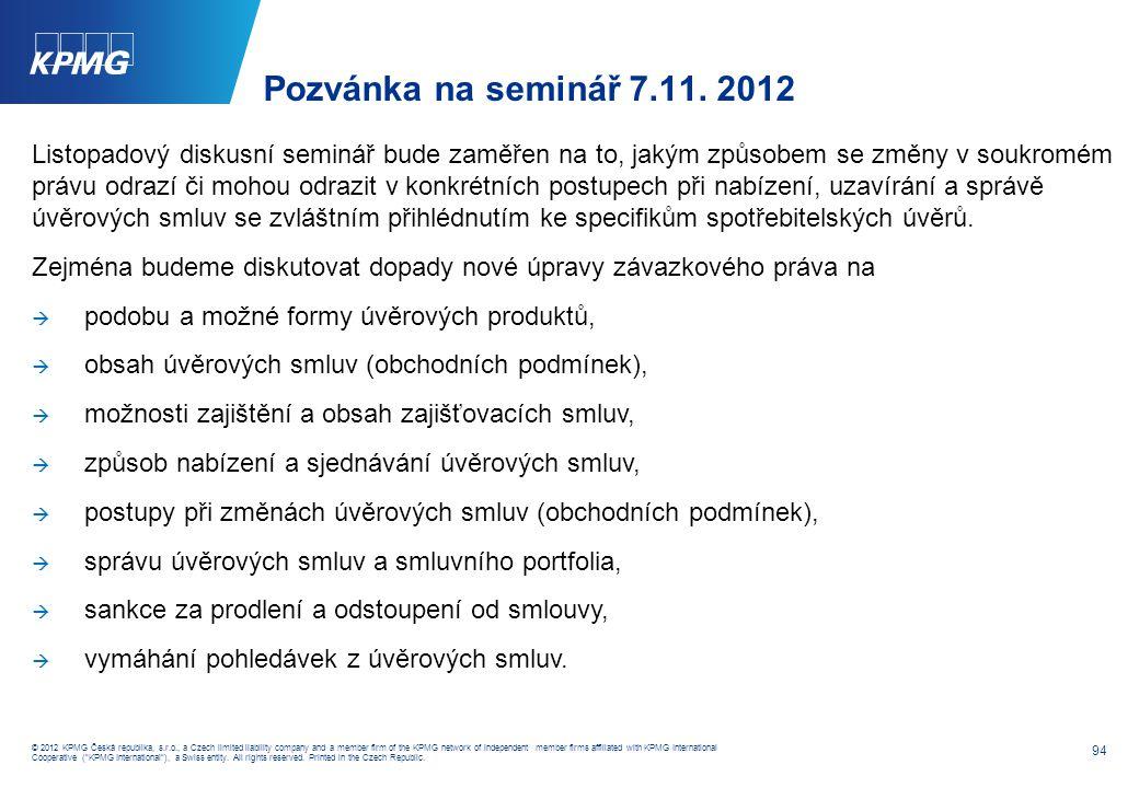 Informace o semináři 5.12. 2012