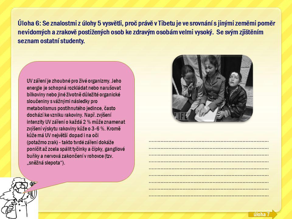 Úloha 6: Se znalostmi z úlohy 5 vysvětli, proč právě v Tibetu je ve srovnání s jinými zeměmi poměr nevidomých a zrakově postižených osob ke zdravým osobám velmi vysoký. Se svým zjištěním seznam ostatní studenty.