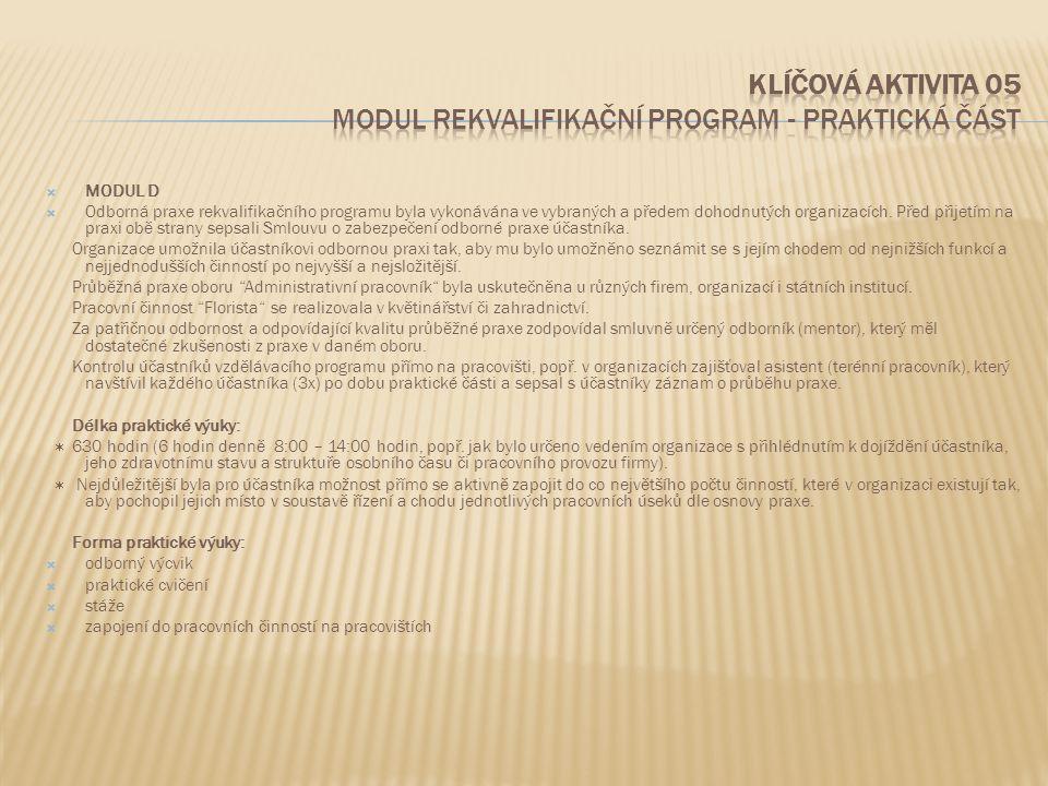 Klíčová aktivita 05 Modul Rekvalifikační program - praktická část