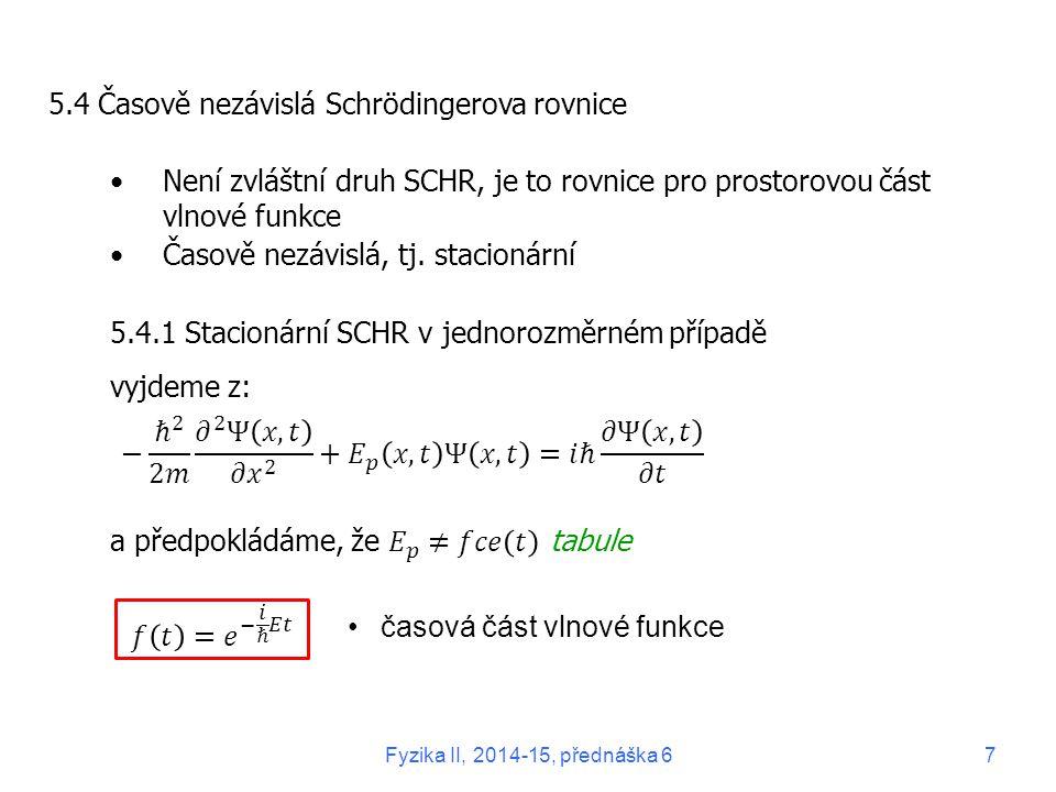 5.4 Časově nezávislá Schrödingerova rovnice