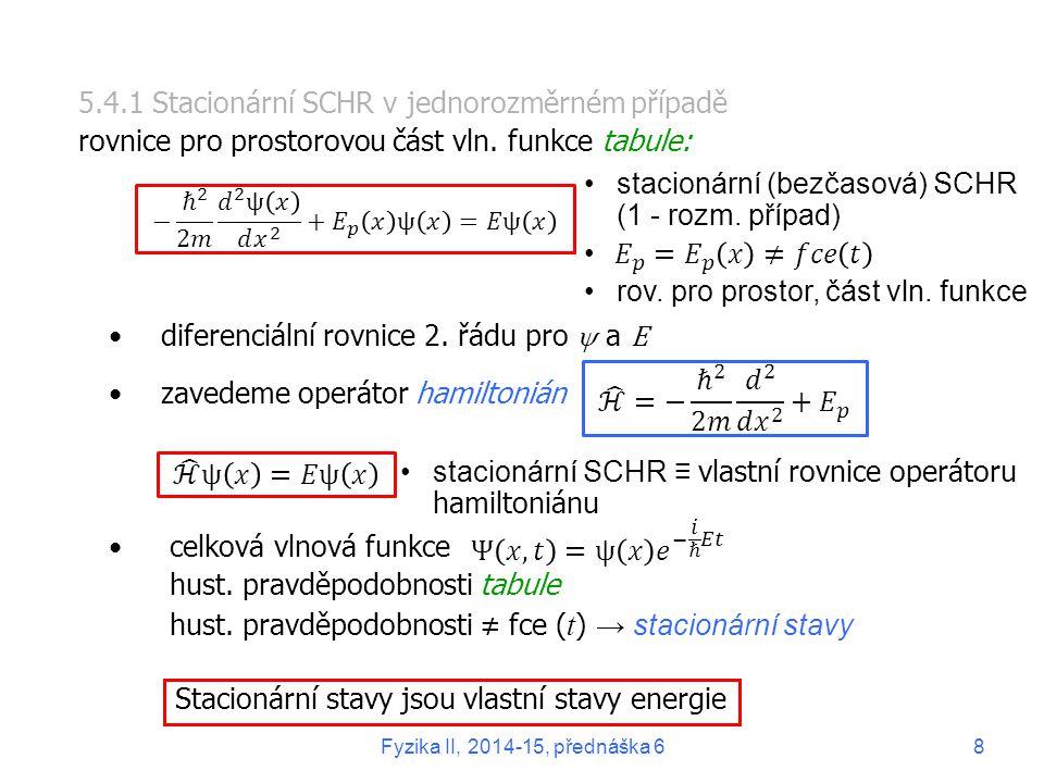 5.4.1 Stacionární SCHR v jednorozměrném případě