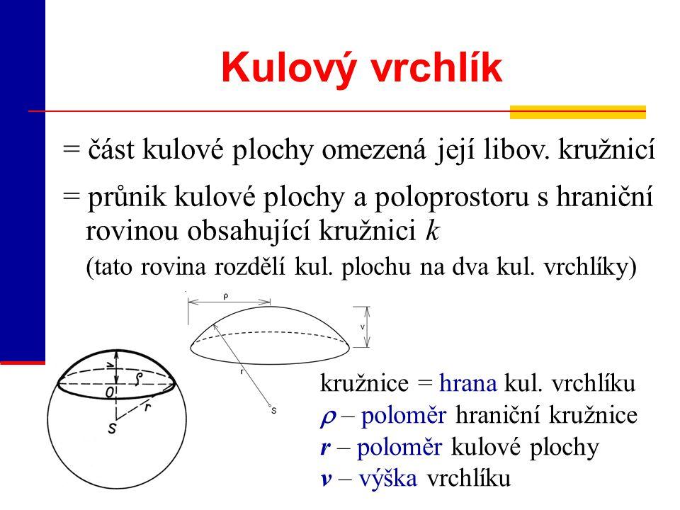 Kulový vrchlík = část kulové plochy omezená její libov. kružnicí
