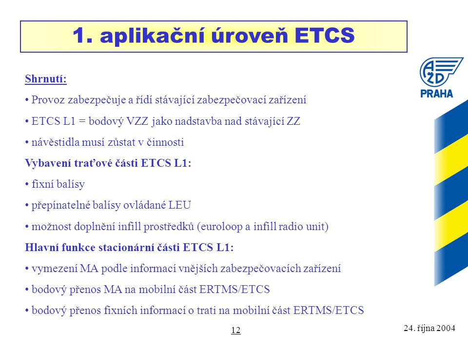 1. aplikační úroveň ETCS Shrnutí: