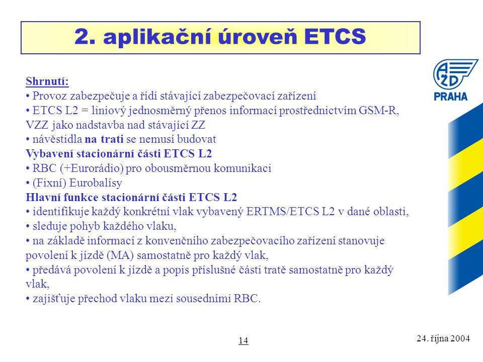 2. aplikační úroveň ETCS Shrnutí: