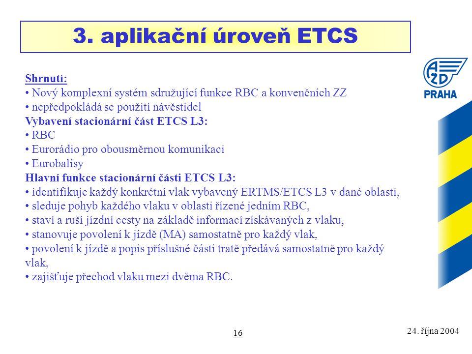 3. aplikační úroveň ETCS Shrnutí: