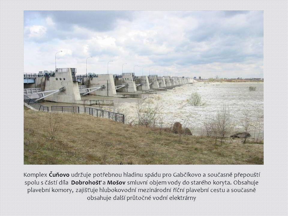 Komplex Čuňovo udržuje potřebnou hladinu spádu pro Gabčíkovo a současně přepouští spolu s částí díla Dobrohošť a Mošov smluvní objem vody do starého koryta.