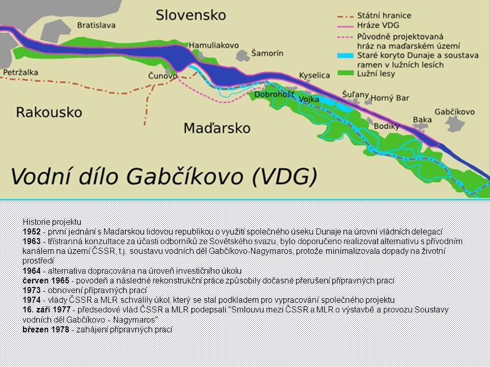 Historie projektu 1952 - první jednání s Maďarskou lidovou republikou o využití společného úseku Dunaje na úrovni vládních delegací.