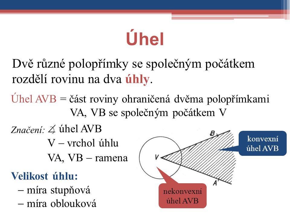 Úhel Dvě různé polopřímky se společným počátkem rozdělí rovinu na dva úhly.