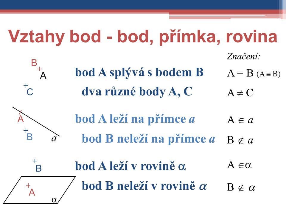 Vztahy bod - bod, přímka, rovina