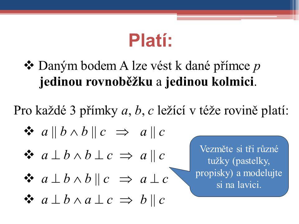 Platí: Daným bodem A lze vést k dané přímce p jedinou rovnoběžku a jedinou kolmici. Pro každé 3 přímky a, b, c ležící v téže rovině platí: