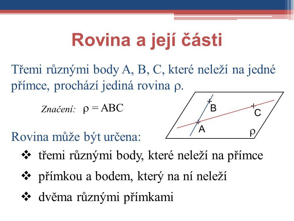 Rovina a její části Třemi různými body A, B, C, které neleží na jedné přímce, prochází jediná rovina .