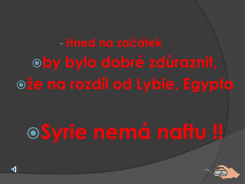 by bylo dobré zdůraznit, že na rozdíl od Lybie, Egypta