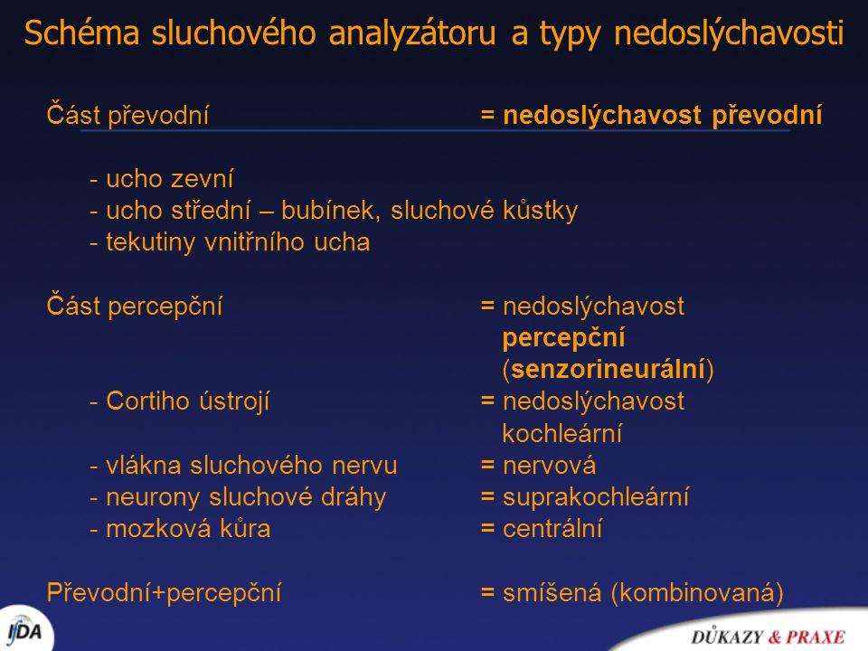 Schéma sluchového analyzátoru a typy nedoslýchavosti