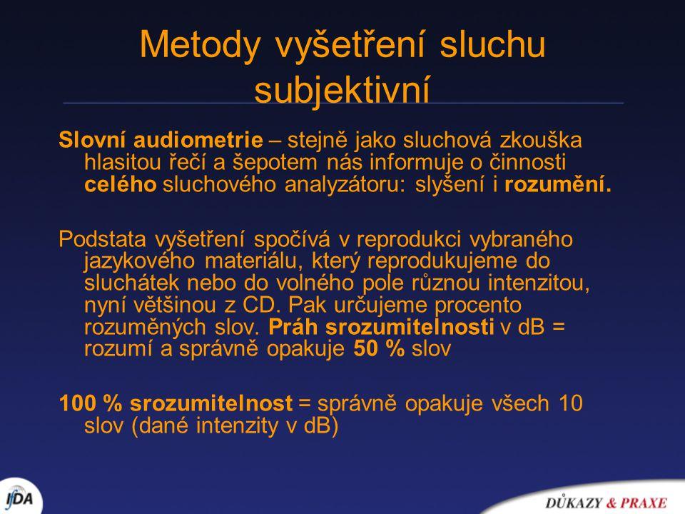 Metody vyšetření sluchu subjektivní