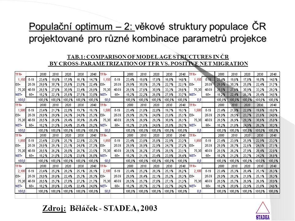 Populační optimum – 2: věkové struktury populace ČR projektované pro různé kombinace parametrů projekce