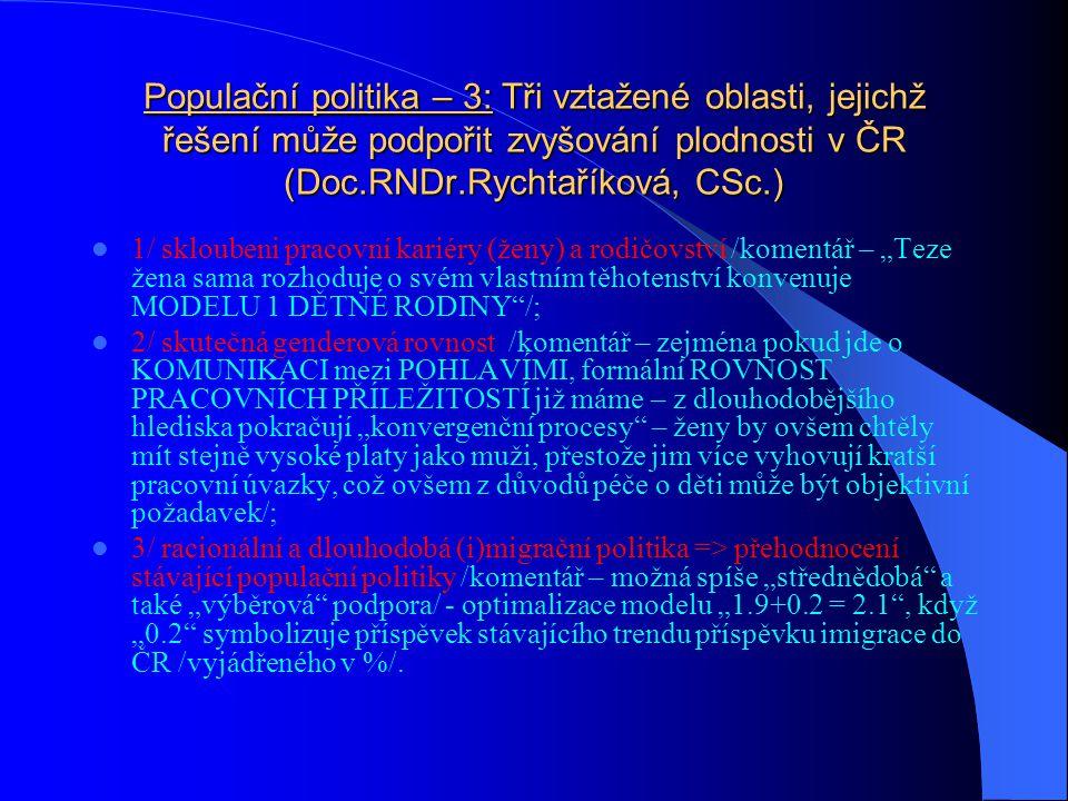 Populační politika – 3: Tři vztažené oblasti, jejichž řešení může podpořit zvyšování plodnosti v ČR (Doc.RNDr.Rychtaříková, CSc.)