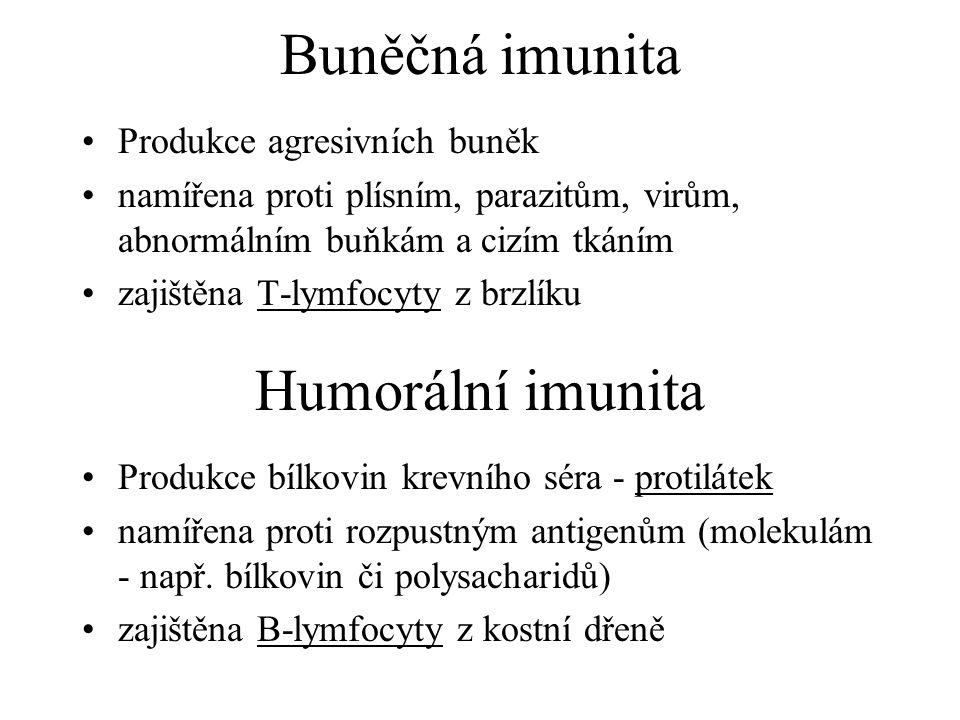 Buněčná imunita Humorální imunita Produkce agresivních buněk