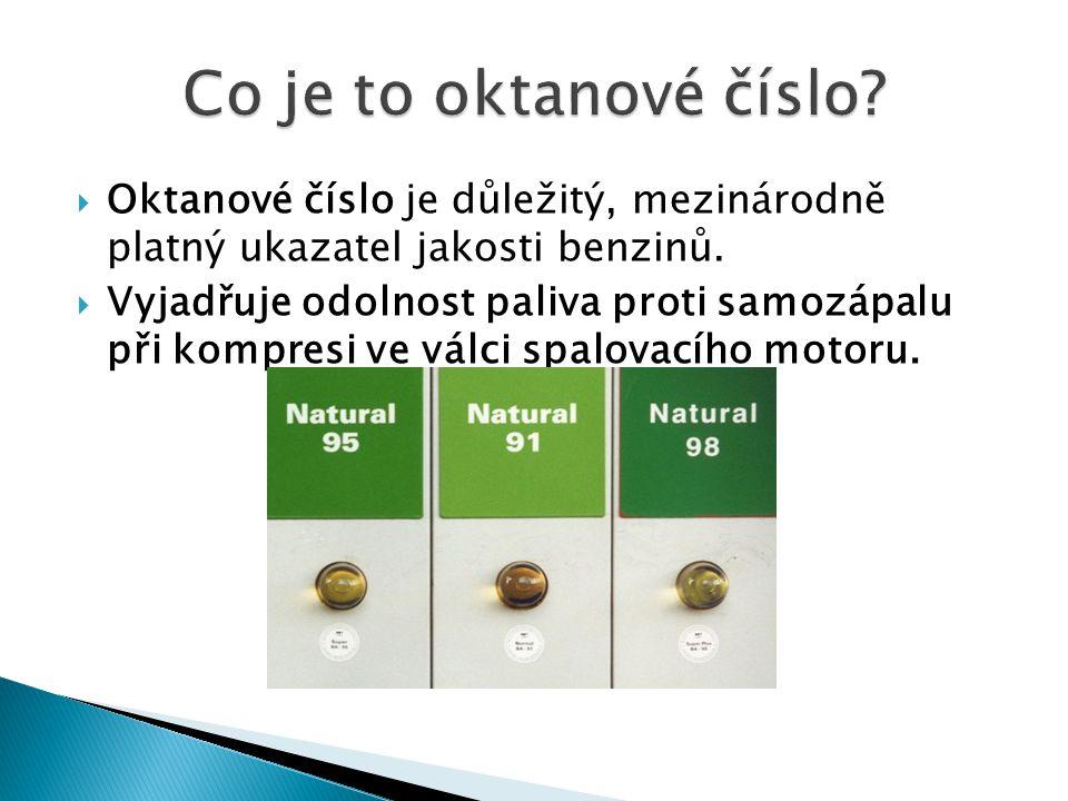 Co je to oktanové číslo Oktanové číslo je důležitý, mezinárodně platný ukazatel jakosti benzinů.