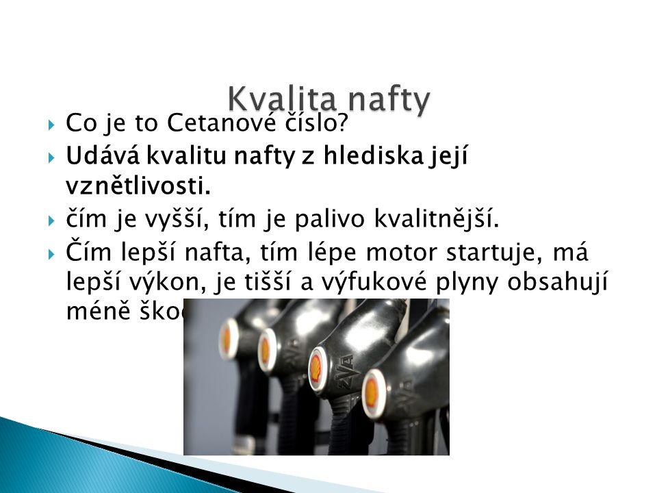 Kvalita nafty Co je to Cetanové číslo