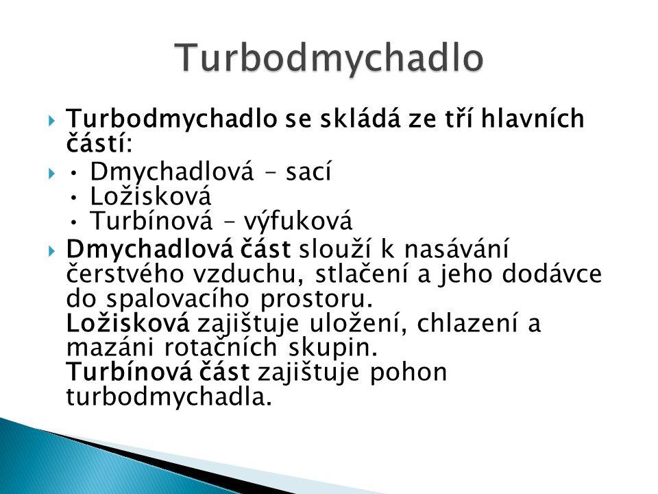 Turbodmychadlo Turbodmychadlo se skládá ze tří hlavních částí:
