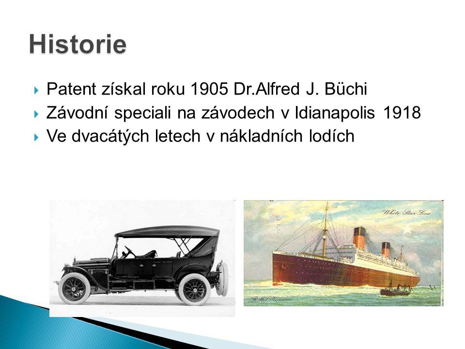Historie Patent získal roku 1905 Dr.Alfred J. Büchi