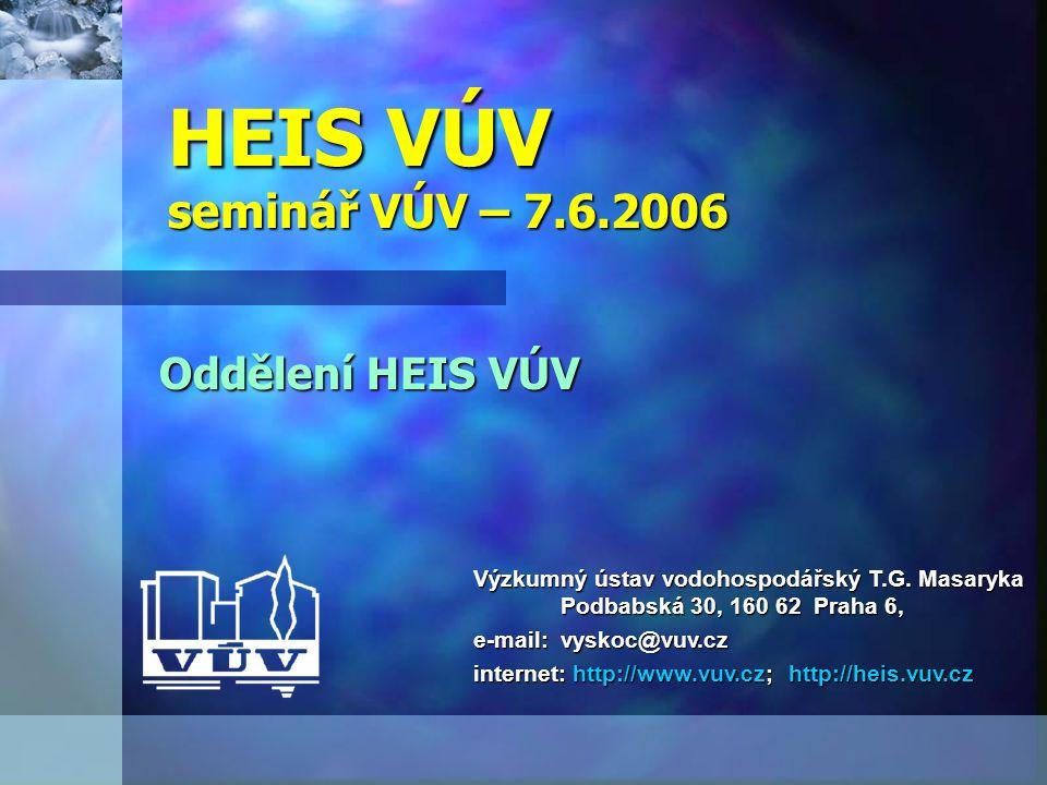 HEIS VÚV seminář VÚV – 7.6.2006 Oddělení HEIS VÚV