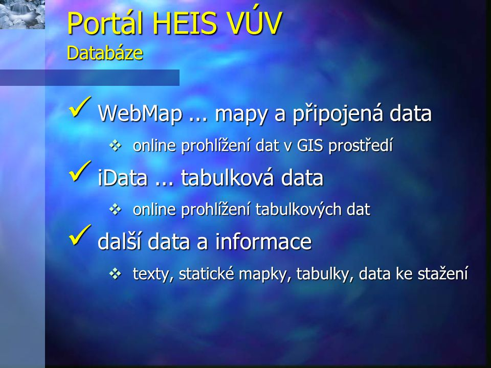 Portál HEIS VÚV Databáze
